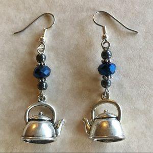 Jewelry - Tea Pot Kettle Earrings Blue Beaded Charm Jewelry